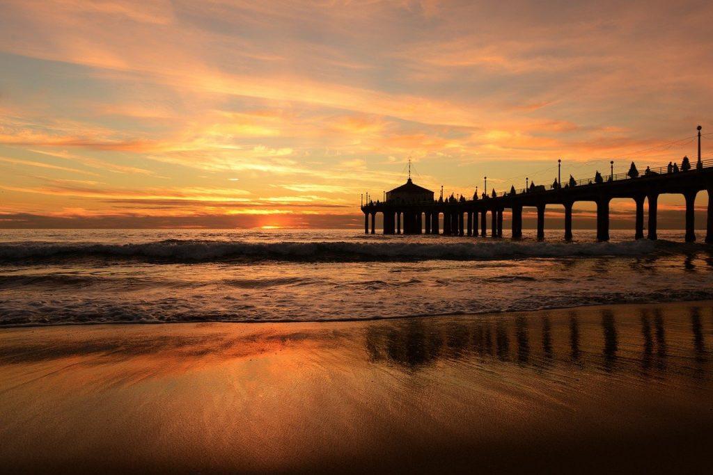 beach, sunset, boardwalk